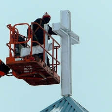 Installation of New Cross to Light Up Neighbourhood at Mount Olive Lutheran Church - Regina SK