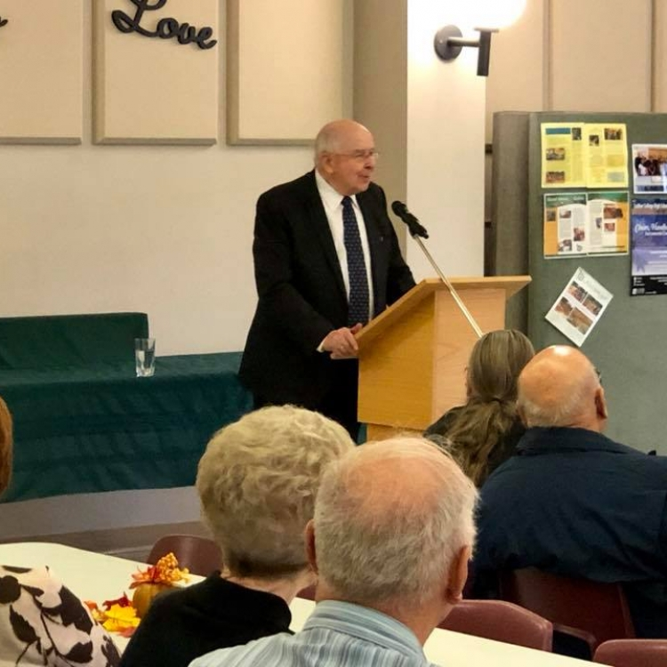 Dr. Norman J. Threinen talking about his book Landestreu, An Odyssey at Mount Olive Lutheran Church