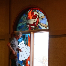 Installing Stain Glass Windows at Mount Olive Lutheran Nov 9th 2011