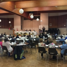 Pastor Lucas Albrecht at the Convention of the Central District of LWML-C in Yorkton, SK (Lutheran Women's Missionary League - Canada)