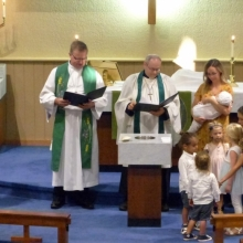 Baptism of Emmeline Senger & Kip Mullin @ the Service 2019 August 7th Wednesday Evening Prayer Service